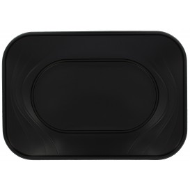 "Plastic dienblad microgolfbaar ""X-Table"" zwart 33x23cm (60 stuks)"