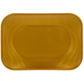 """Bandeja de Plastico PP """"X-Table"""" Oro 330x230mm (2 Uds)"""