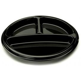 Plastic bord Rond vormig 3C zwart 26 cm (25 stuks)