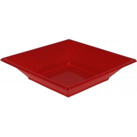 Plastic bord Diep Vierkant rood 17 cm (5 stuks)