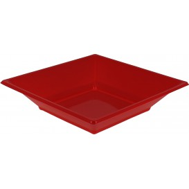 Plastic bord Diep Vierkant rood 17 cm (300 stuks)