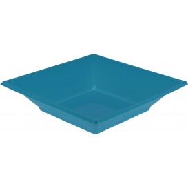 Plastic bord Diep Vierkant turkoois 17 cm (5 stuks)