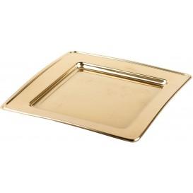Plastic bord PET Vierkant goud 18cm (6 stuks)