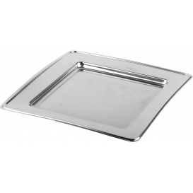 Plastic bord PET Vierkant zilver 30cm (120 stuks)