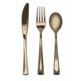 Bestekset vork, mes en lepel goud gemetalliseerd (1 stuk)
