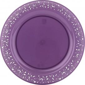 "Plastic bord Rond vormig ""Lace"" aubergine kleur 23cm (4 stuks)"