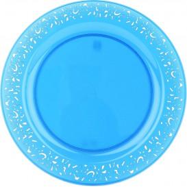 """Plastic bord Rond vormig """"Lace"""" turkoois 19cm (88 stuks)"""