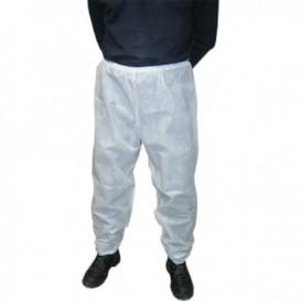 """Wegwerp plastic broeken """"TST"""" PP wit (100 stuks)"""