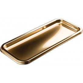 Plastic dienblad Rechthoekige vorm goud 35x16cm (5 stuks)
