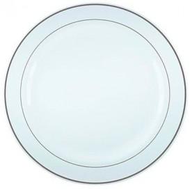 Plastic bord Extra stijf met Ovale rand zilver 23cm (6 stuks)