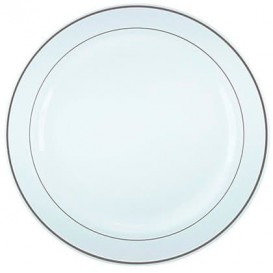 Plastic bord Extra stijf met Ovale rand zilver 23cm (90 stuks)