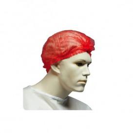 Wegwerp haarnetje PP rood 2 rubber Ø53cm (100 stuks)