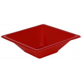 Plastic kom PS Vierkant rood 12x12cm (12 stuks)