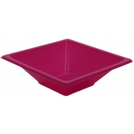 Plastic kom PS Vierkant fuchsia 12x12cm (25 stuks)
