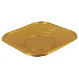 """Plato de Plastico PP """"X-Table"""" Cuadrado Oro 230mm (120 Uds)"""