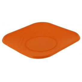"Plato de Plastico PP ""X-Table"" Cuadrado Naranja 180mm (120 Uds)"