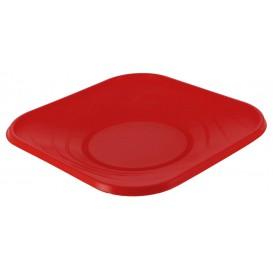 """Plato de Plastico PP """"X-Table"""" Cuadrado Rojo 180mm (8 Uds)"""
