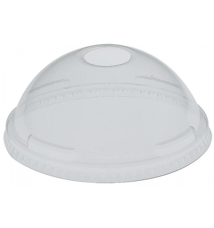 Plastic PET koepel Deksel met gat Kristal Ø9,2cm (1000 stuks)