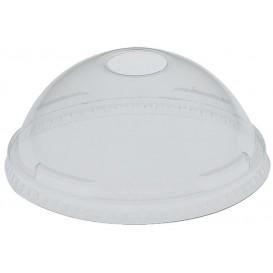 Plastic PET koepel Deksel met gat Kristal Ø9,2cm (100 stuks)