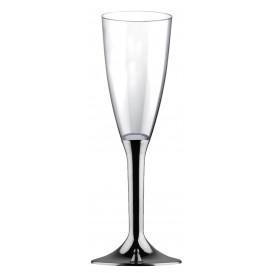 Plastic stam fluitglas Mousserende Wijn niquel chroom 120ml 2P (40 stuks)