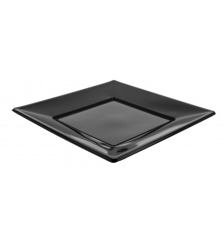 Plastic bord Plat Vierkant zwart 23 cm (750 eenheden)