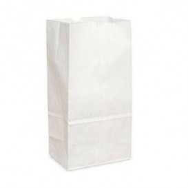 Papieren zak zonder handvat kraft wit 18+11x34cm (25 stuks)