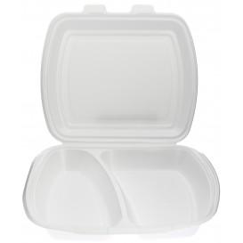 Schuim lunch doos met 2 Compartmenten wit 2,40x2,10x0,70cm (125 stuks)