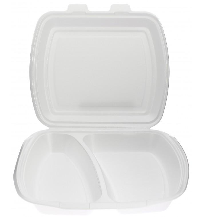 Schuim lunch doos met 2 Compartmenten wit 2,40x2,10x0,70cm (250 stuks)