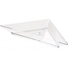 Plastic PS proefschotel Driehoekige vorm 5x10cm (8 stuks)