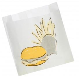 Papieren voedsel zak Vetvrij Burger Design 15+5x16cm (1000 stuks)