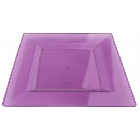 Plastic bord Vierkant extra sterk aubergine kleur 20x20cm (4 stuks)