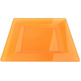 Plastic bord Vierkant extra sterk oranje 20x20cm (4 stuks)