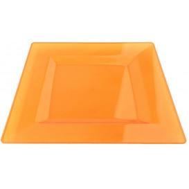 Plastic bord Vierkant extra sterk oranje 20x20cm (88 stuks)