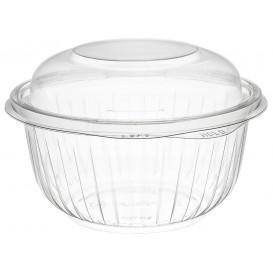 """Plastic scharnierende Saladekom PET""""Presentatiekom"""" hoog koepel Deksel 475ml (75 stuks)"""