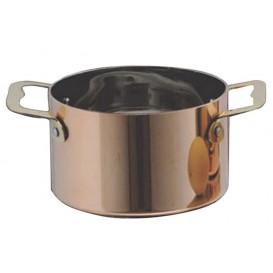 Bediening mini kookpot dienblad kom van staal koper Ø7x4,5cm (1 stuk)