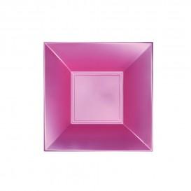 "Plastic bord Diep perzik kleur ""Nice"" parel PP 18 cm (25 stuks)"