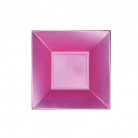 "Plastic bord Diep perzik kleur ""Nice"" parel PP 18 cm (300 stuks)"