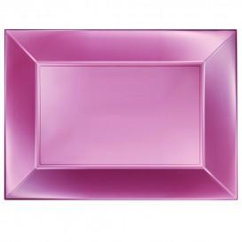 "Plastic dienblad microgolfbaar perzik kleur ""Nice"" 34,5x23cm (6 stuks)"