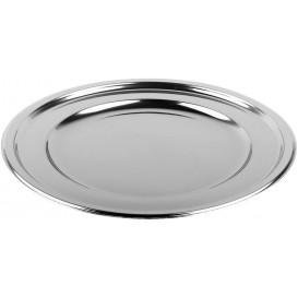 Plastic oplader bord Rond vormig zilver 30 cm (5 stuks)
