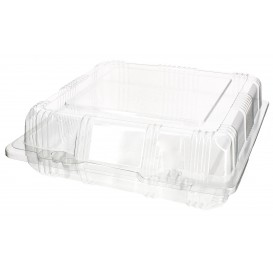 Plastic scharnierende bakkerij Container PET 18x18x6cm (220 stuks)