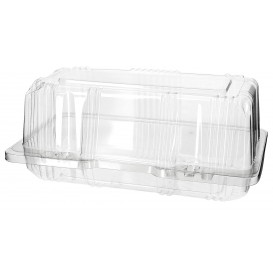 Plastic scharnierende bakkerij Container PET 18x9,5x8cm (220 stuks)