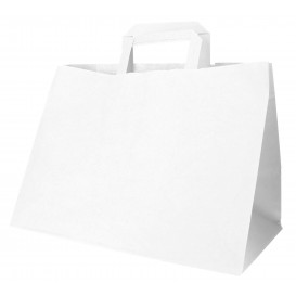 Papieren zak met handgrepen wit Plat 70g 32+20x23cm (50 stuks)