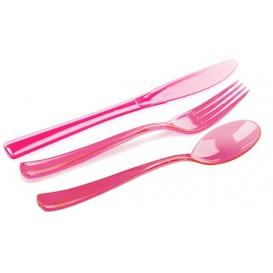 Plastic Bestekset vork, mes, lepel framboos (20 sets)