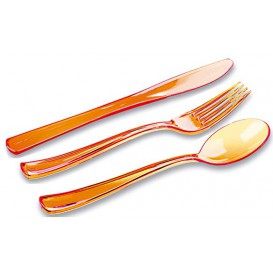 Plastic Bestekset vork, mes, lepel oranje (1 stuk)