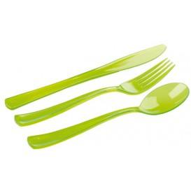 Plastic Bestekset vork, mes, lepel groen (20 sets)