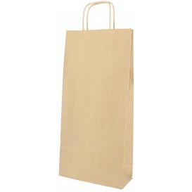Papieren zak voor fles met handgrepen kraft 18+8x39cm (50 stuks)