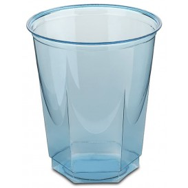 Plastic PS beker Kristal Zeshoekige vorm turkoois 250ml (10 stuks)