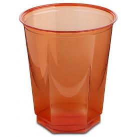 Plastic PS beker Kristal Zeshoekige vorm rood 250ml (250 stuks)