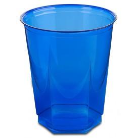 Plastic PS beker Kristal Zeshoekige vorm blauw 250ml (10 stuks)