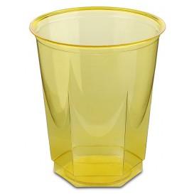 Plastic PS beker Kristal Zeshoekige vorm geel 250ml (250 stuks)